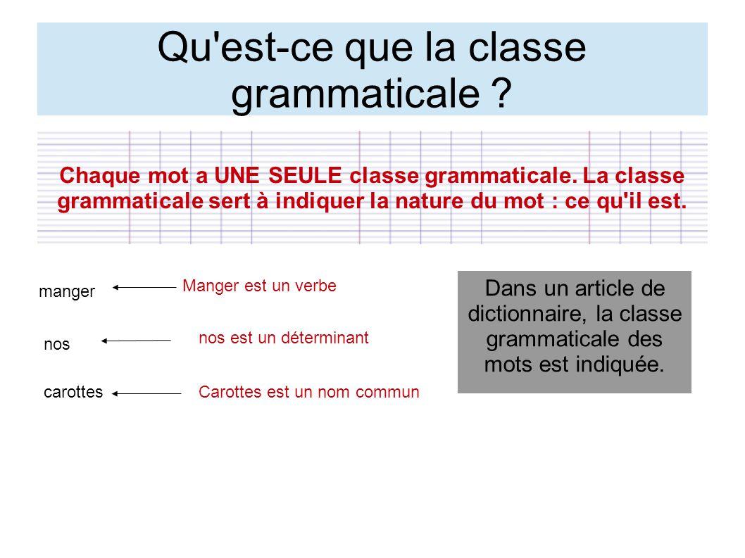 Qu est-ce que la classe grammaticale