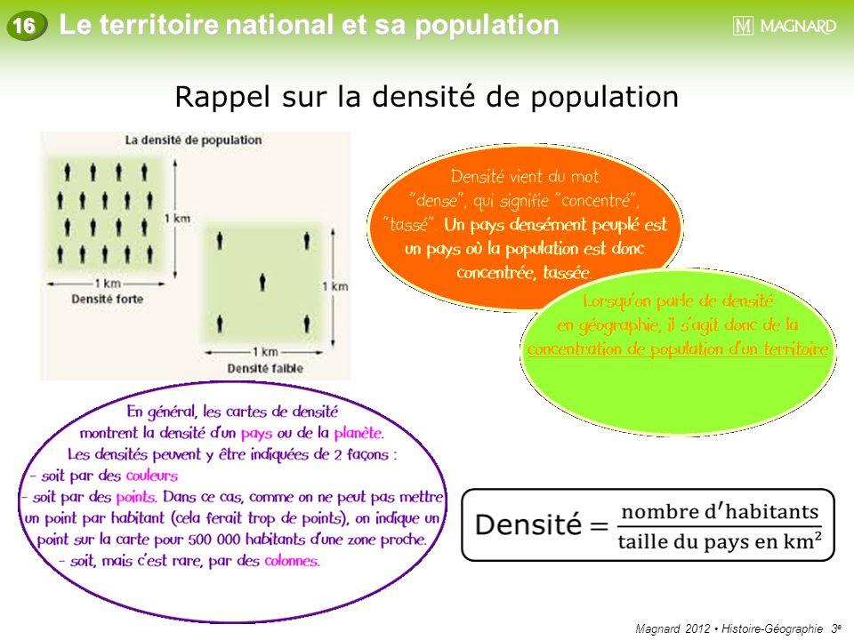 Rappel sur la densité de population