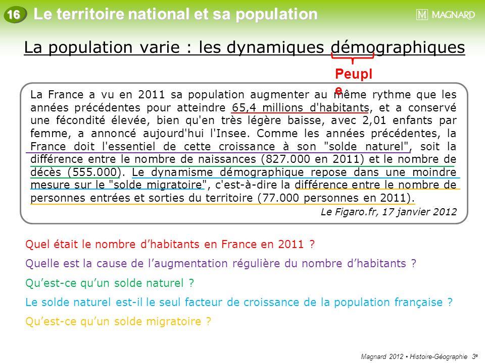 La population varie : les dynamiques démographiques