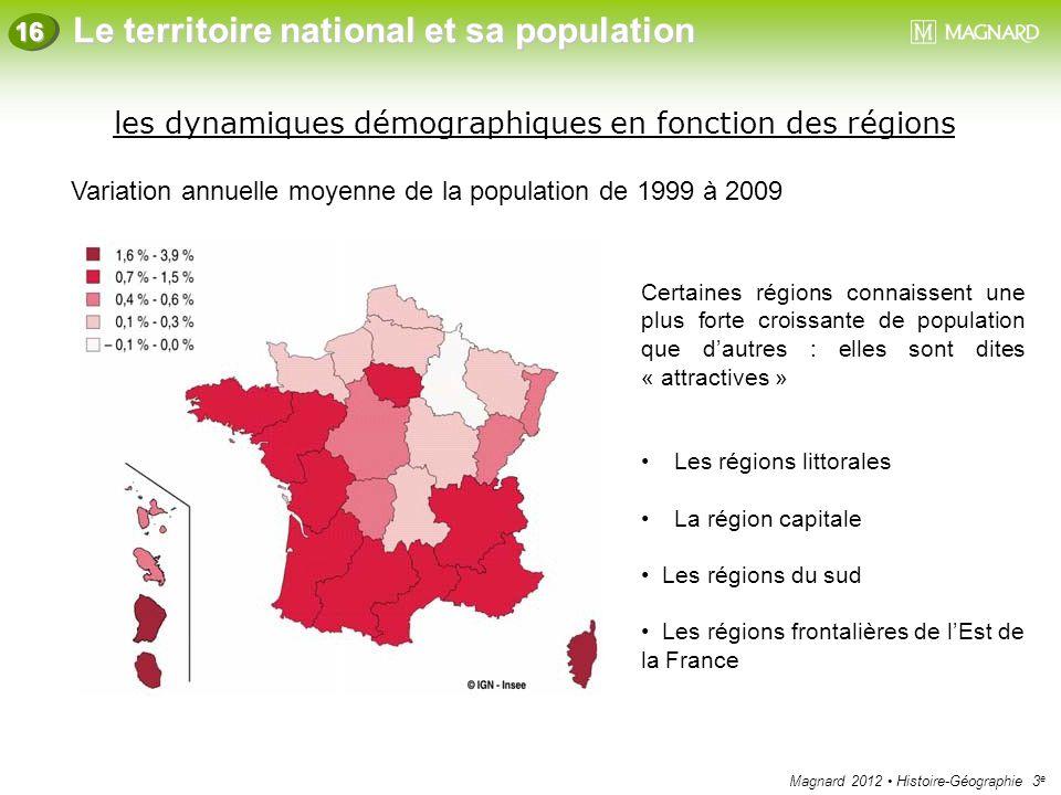 les dynamiques démographiques en fonction des régions