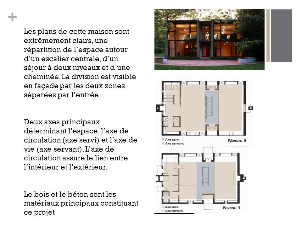 Les plans de cette maison sont extrêmement clairs, une répartition de l'espace autour d'un escalier centrale, d'un séjour à deux niveaux et d'une cheminée. La division est visible en façade par les deux zones séparées par l'entrée.