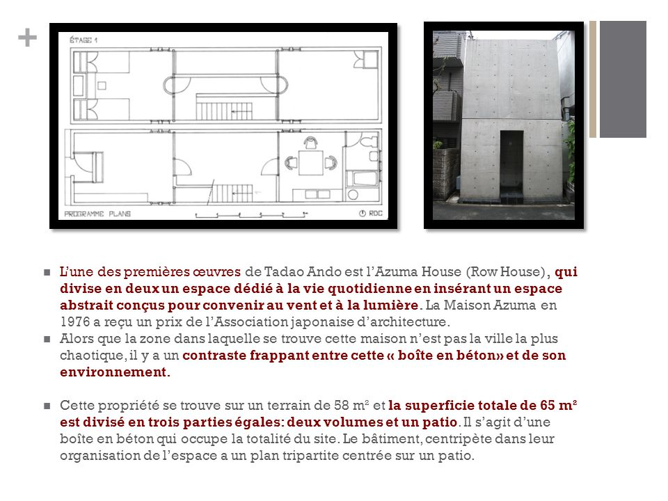 L'une des premières œuvres de Tadao Ando est l'Azuma House (Row House), qui divise en deux un espace dédié à la vie quotidienne en insérant un espace abstrait conçus pour convenir au vent et à la lumière. La Maison Azuma en 1976 a reçu un prix de l'Association japonaise d'architecture.
