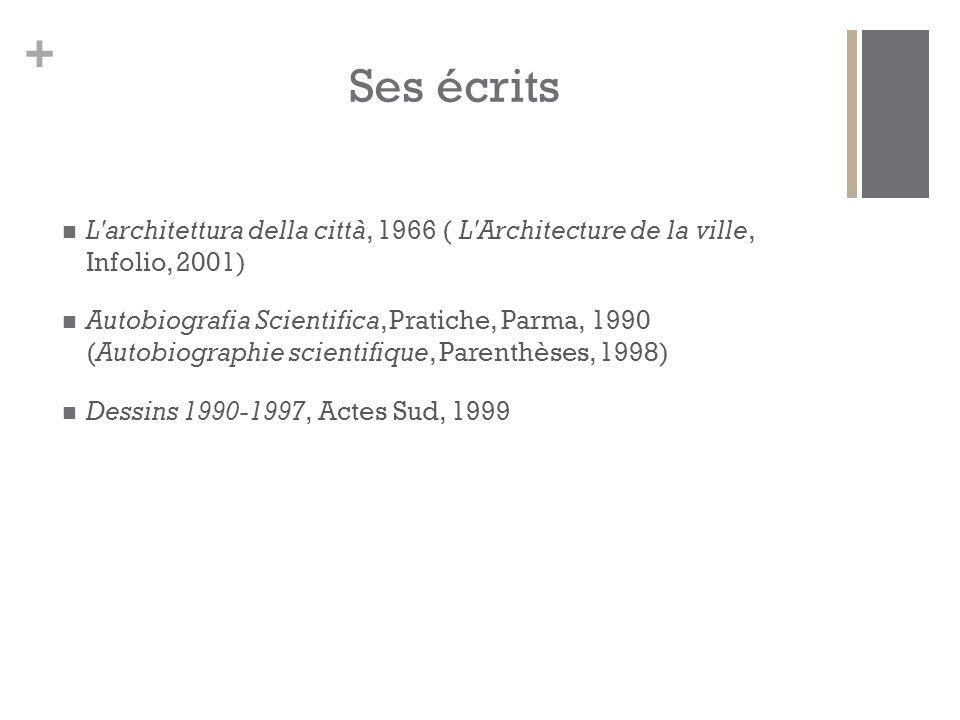 Ses écrits L architettura della città, 1966 ( L Architecture de la ville, Infolio, 2001)