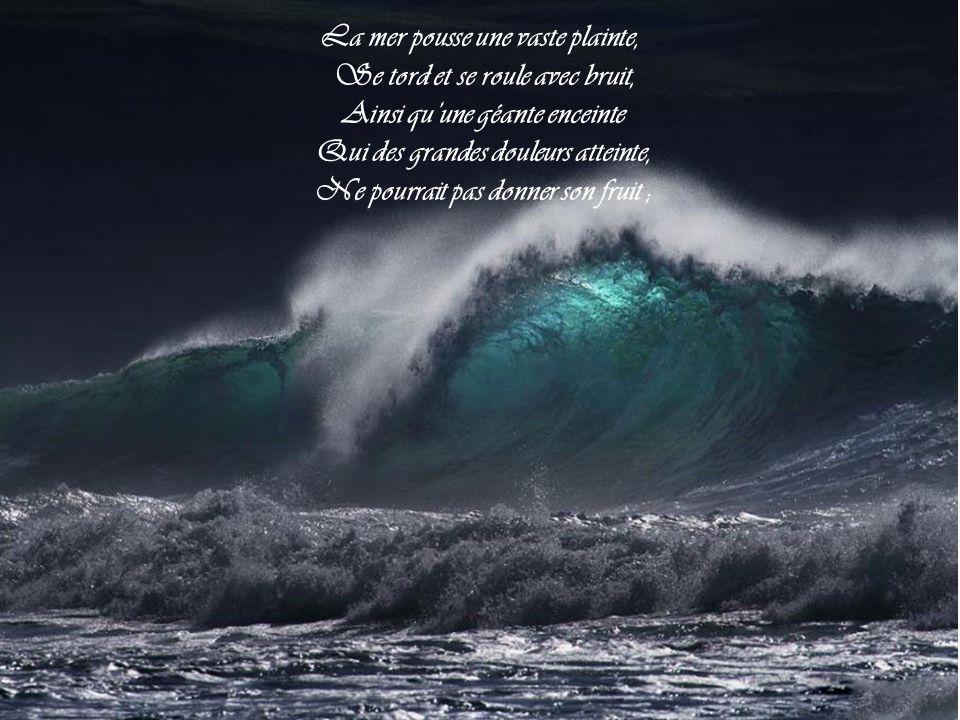 La mer pousse une vaste plainte, Se tord et se roule avec bruit,
