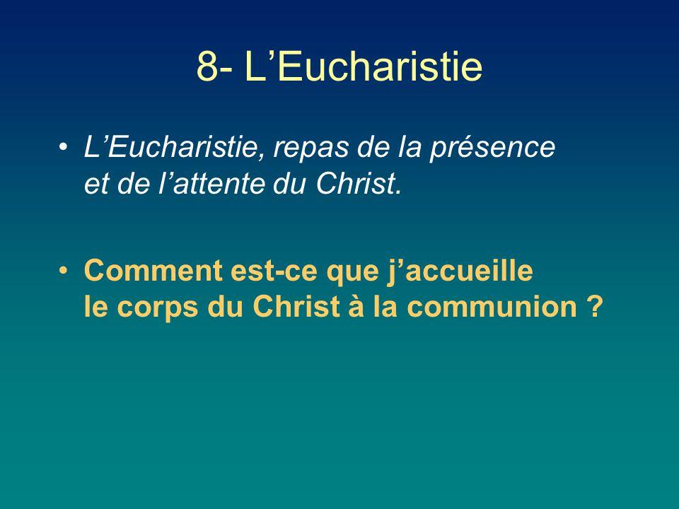 8- L'Eucharistie L'Eucharistie, repas de la présence et de l'attente du Christ.