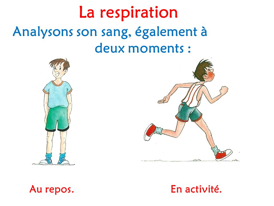 La respiration Analysons son sang, également à deux moments :