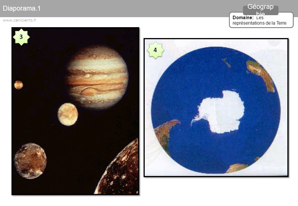 Diaporama.1 Géographie 3 4 Domaine: Les représentations de la Terre