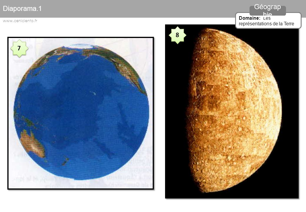 Diaporama.1 Géographie 8 7 Domaine: Les représentations de la Terre