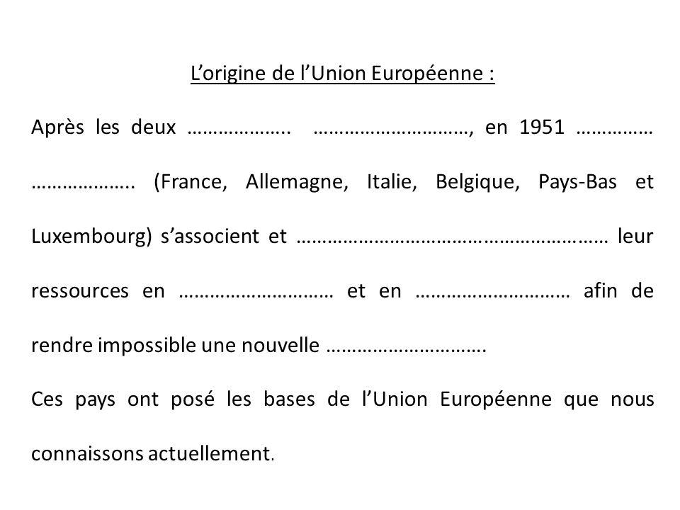 L'origine de l'Union Européenne :