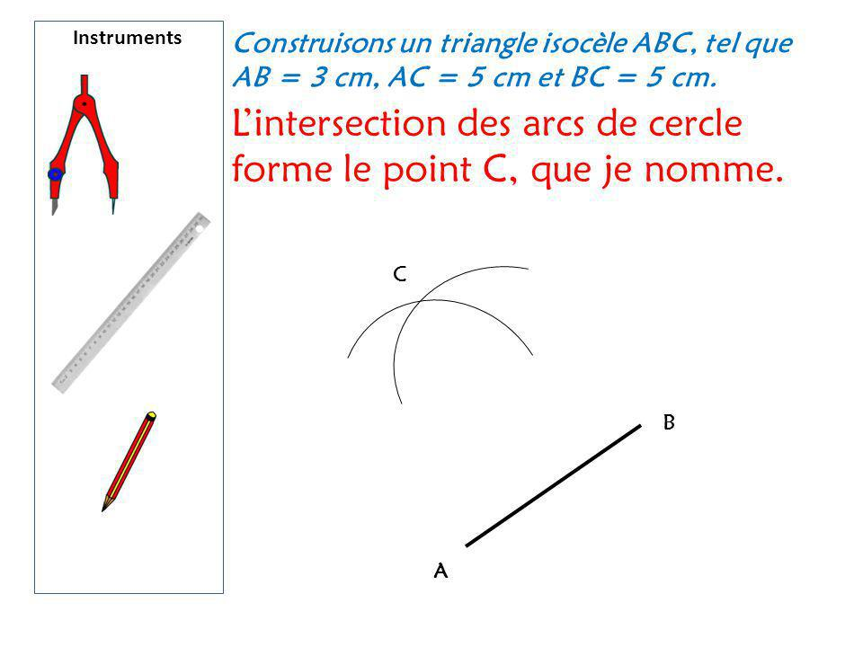 L'intersection des arcs de cercle forme le point C, que je nomme.