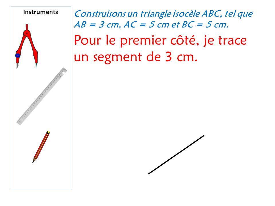 Pour le premier côté, je trace un segment de 3 cm.