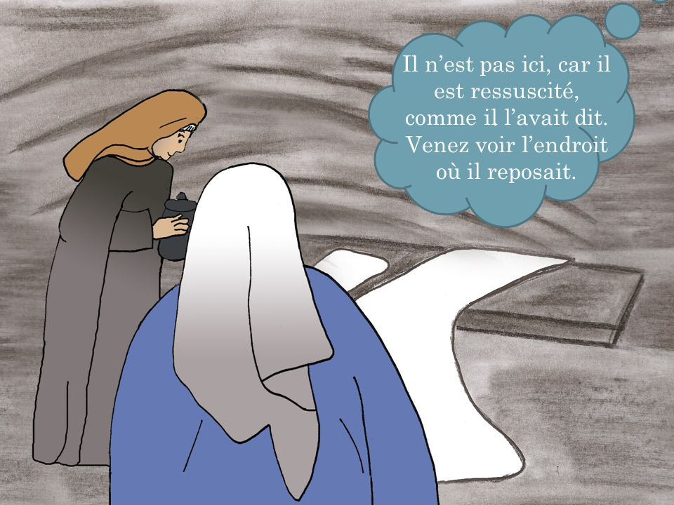 . Il n'est pas ici, car il est ressuscité, comme il l'avait dit.