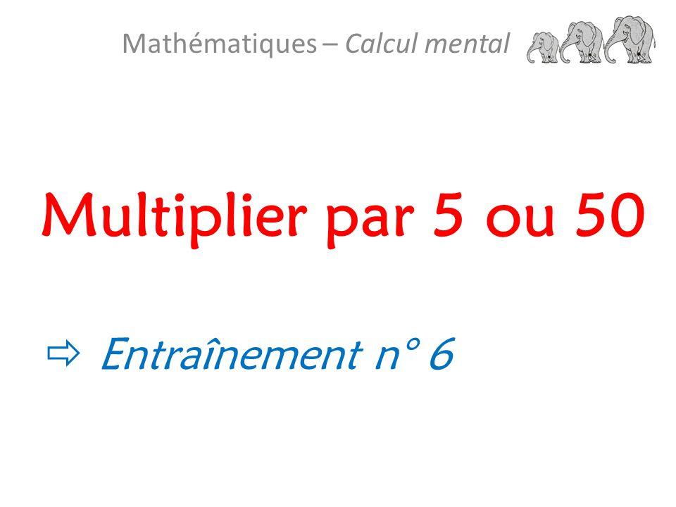 Mathématiques – Calcul mental