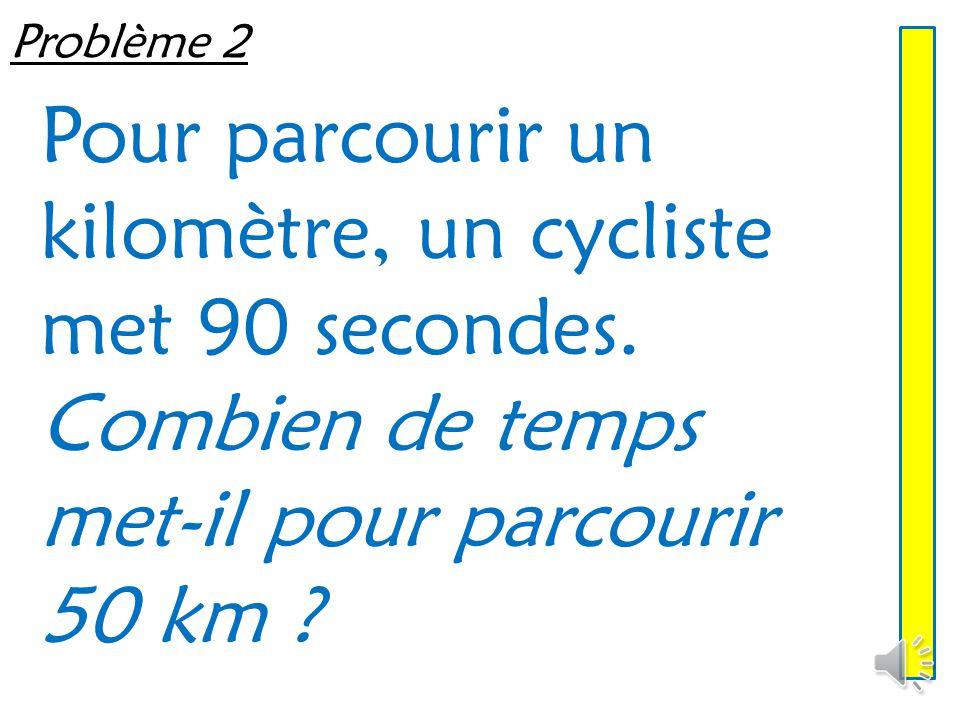 Pour parcourir un kilomètre, un cycliste met 90 secondes.