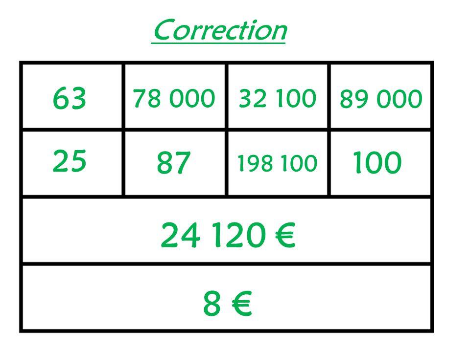 Correction 63 78 000 32 100 89 000 25 87 100 198 100 24 120 € 8 €