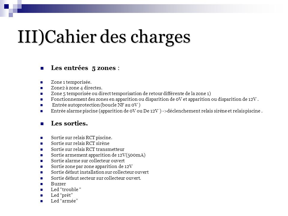 III)Cahier des charges