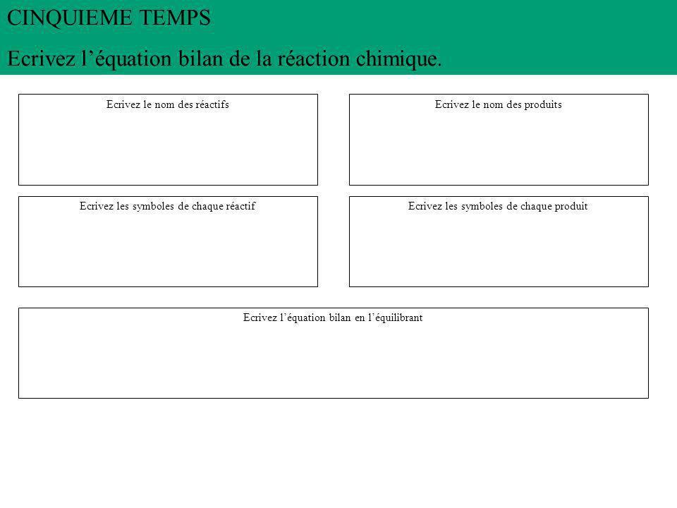 Ecrivez l'équation bilan de la réaction chimique.