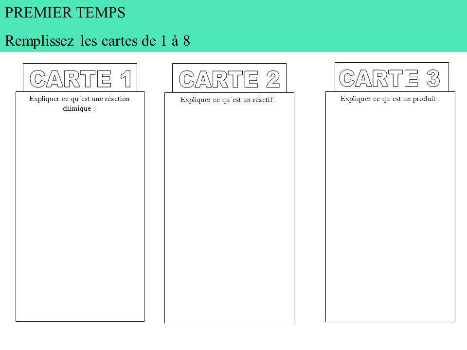 CARTE 1 CARTE 2 CARTE 3 PREMIER TEMPS Remplissez les cartes de 1 à 8