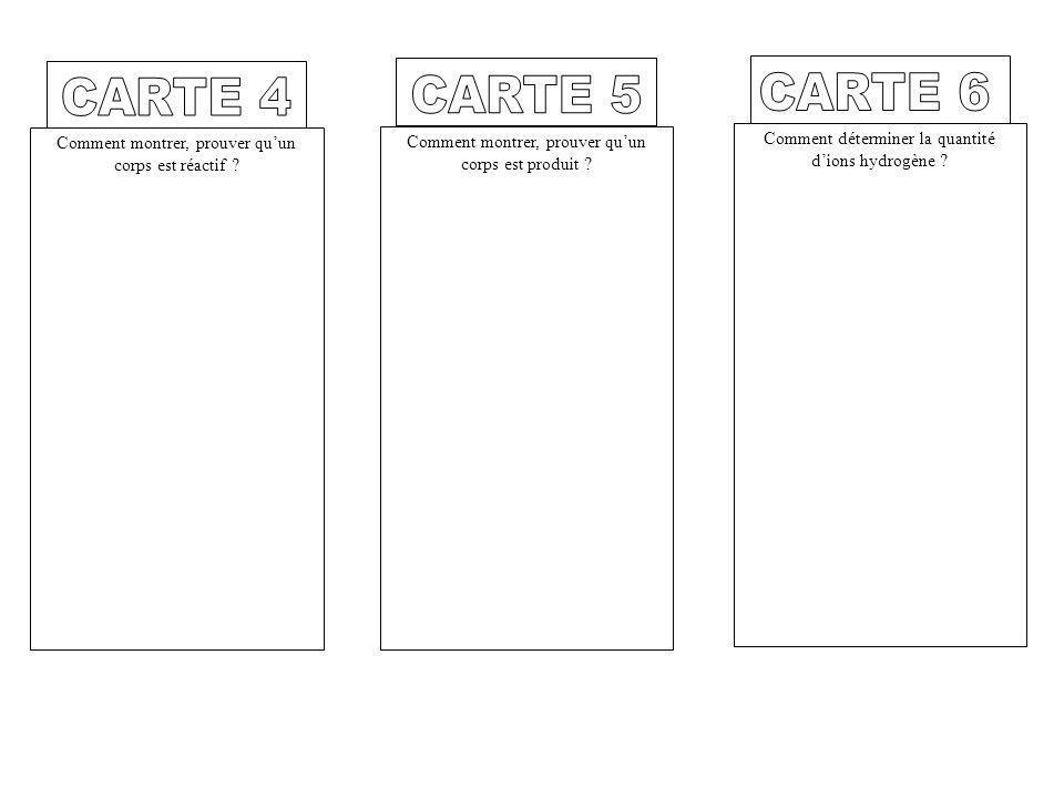 CARTE 4 CARTE 5. CARTE 6. Comment montrer, prouver qu'un corps est réactif Comment montrer, prouver qu'un corps est produit