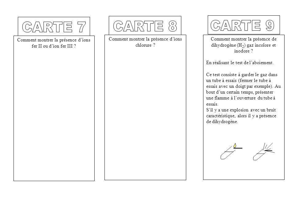 CARTE 7 CARTE 8. CARTE 9. Comment montrer la présence d'ions fer II ou d'ion fer III Comment montrer la présence d'ions chlorure