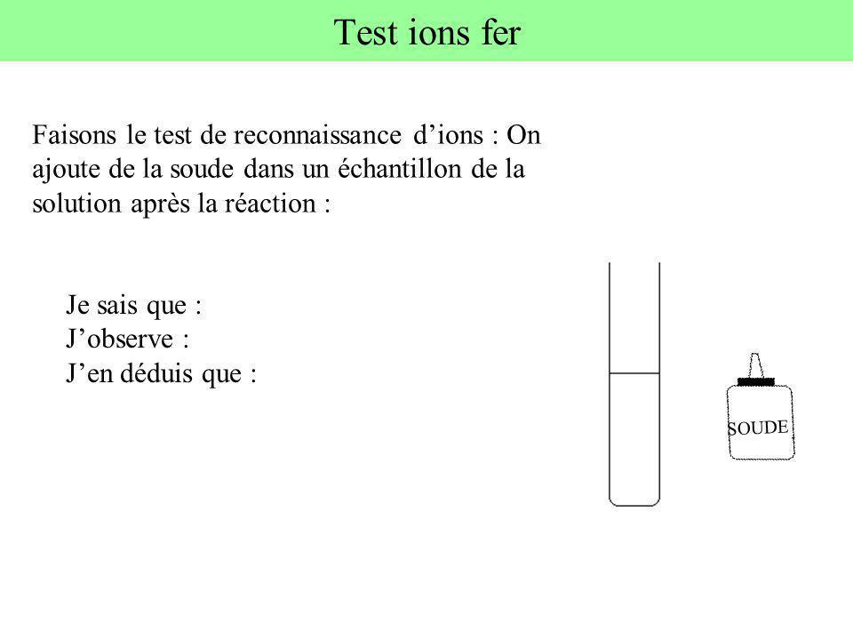 Test ions fer Faisons le test de reconnaissance d'ions : On ajoute de la soude dans un échantillon de la solution après la réaction :