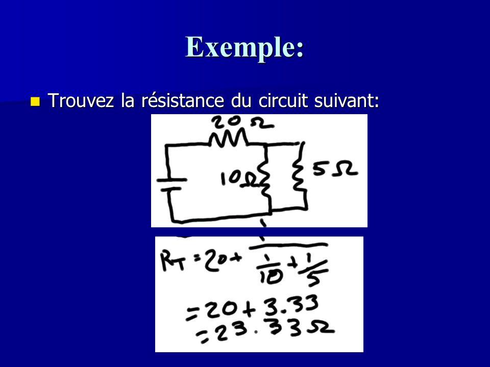 Exemple: Trouvez la résistance du circuit suivant: