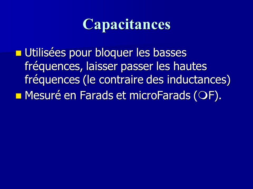 Capacitances Utilisées pour bloquer les basses fréquences, laisser passer les hautes fréquences (le contraire des inductances)