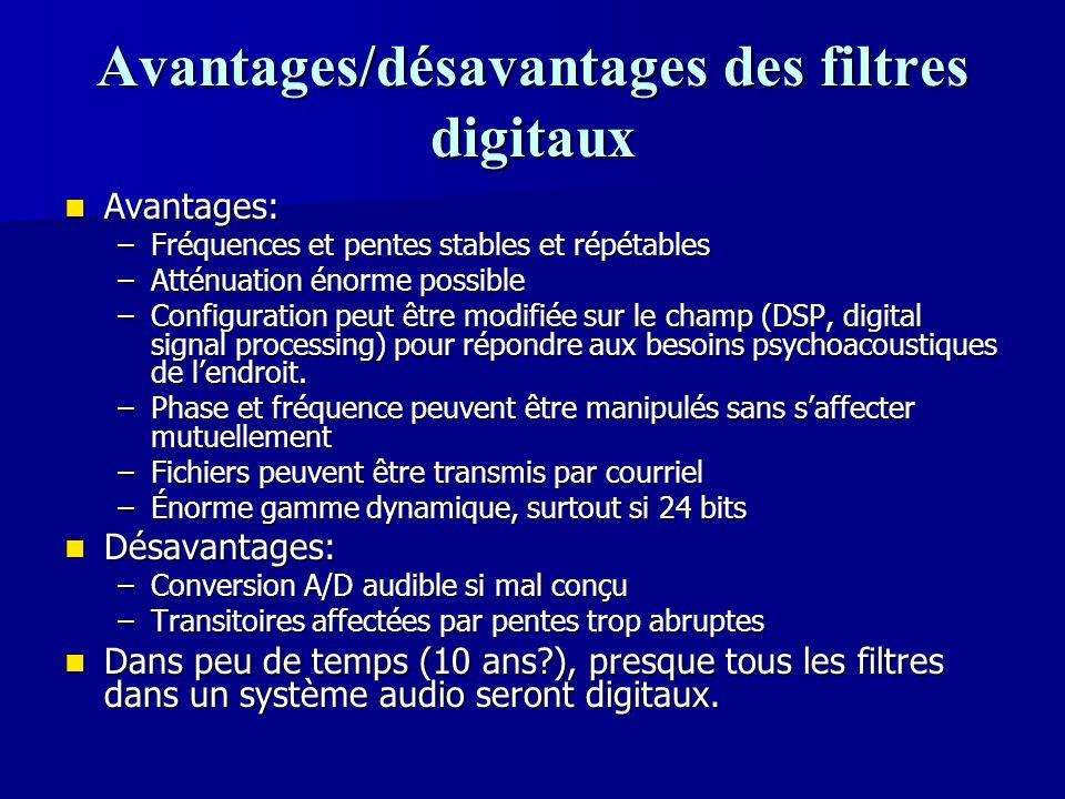 Avantages/désavantages des filtres digitaux