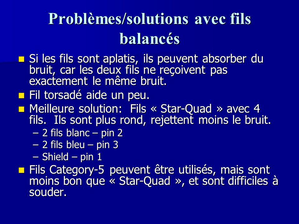 Problèmes/solutions avec fils balancés