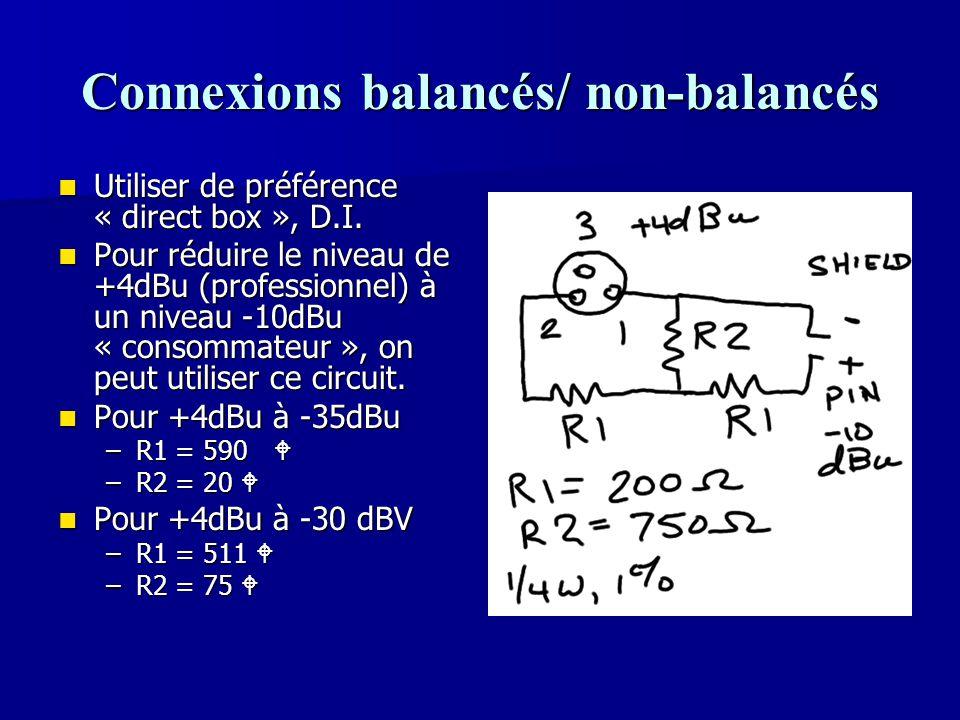 Connexions balancés/ non-balancés
