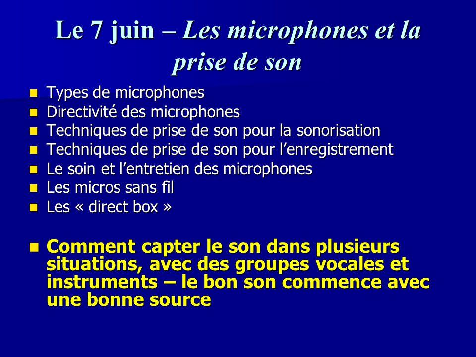 Le 7 juin – Les microphones et la prise de son