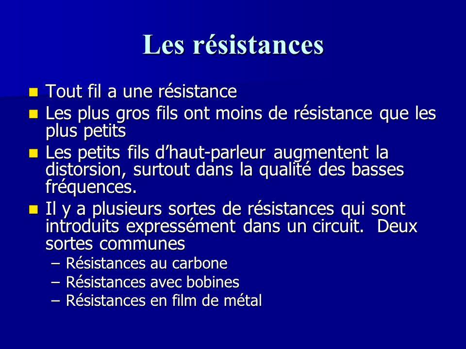 Les résistances Tout fil a une résistance