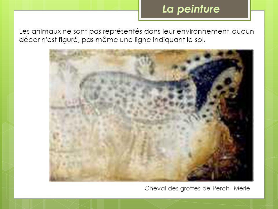 La peinture Les animaux ne sont pas représentés dans leur environnement, aucun décor n est figuré, pas même une ligne indiquant le sol.