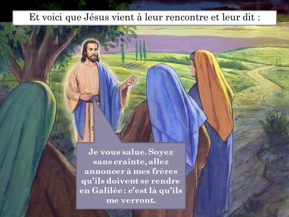 Et voici que Jésus vient à leur rencontre et leur dit :