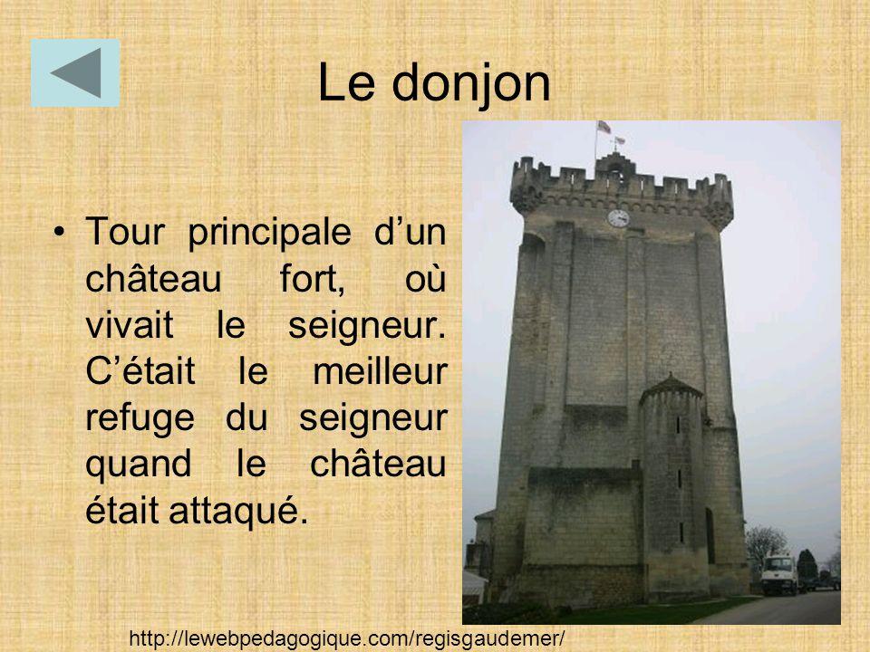 Le donjon Tour principale d'un château fort, où vivait le seigneur. C'était le meilleur refuge du seigneur quand le château était attaqué.