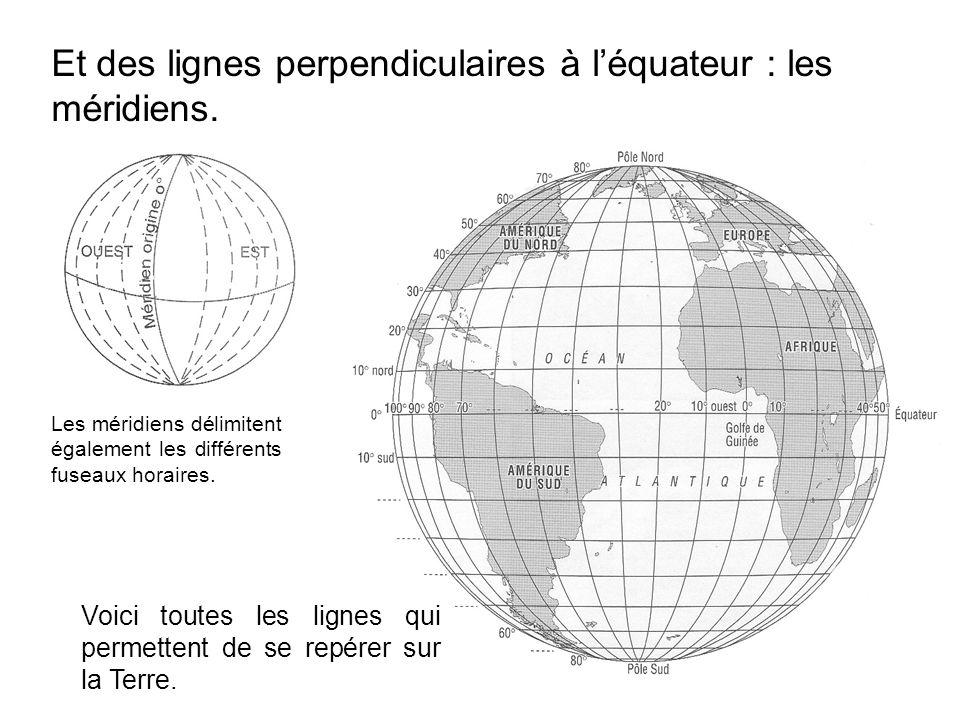 Et des lignes perpendiculaires à l'équateur : les méridiens.