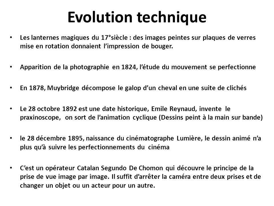 Evolution technique Les lanternes magiques du 17°siècle : des images peintes sur plaques de verres mise en rotation donnaient l'impression de bouger.