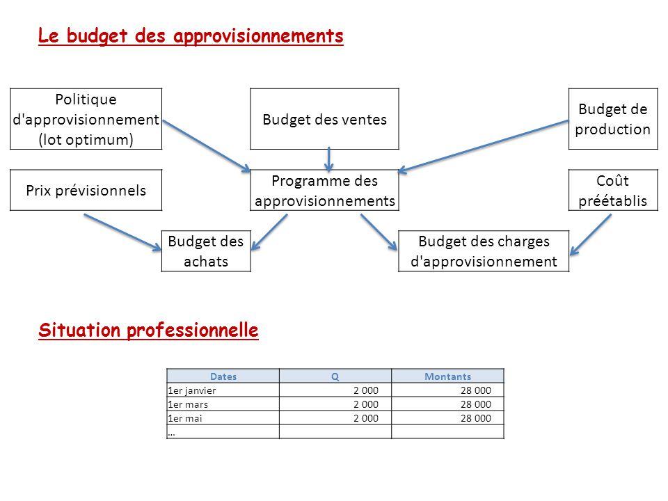Le budget des approvisionnements Situation professionnelle