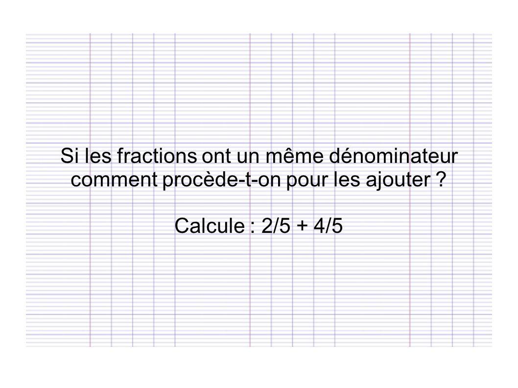 Si les fractions ont un même dénominateur comment procède-t-on pour les ajouter