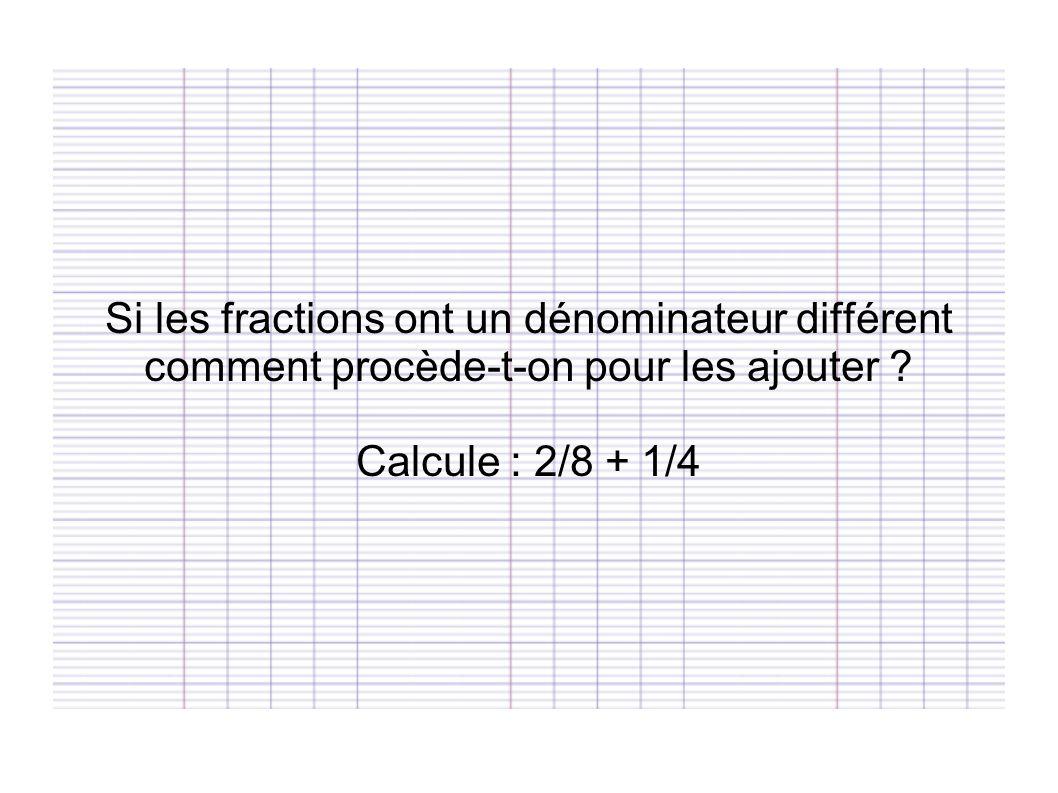 Si les fractions ont un dénominateur différent comment procède-t-on pour les ajouter