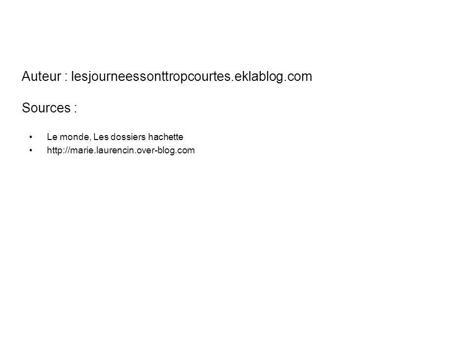 Auteur : lesjourneessonttropcourtes.eklablog.com Sources :