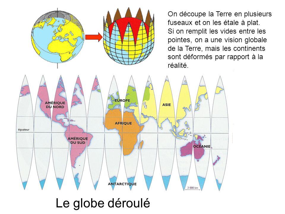 On découpe la Terre en plusieurs fuseaux et on les étale à plat.