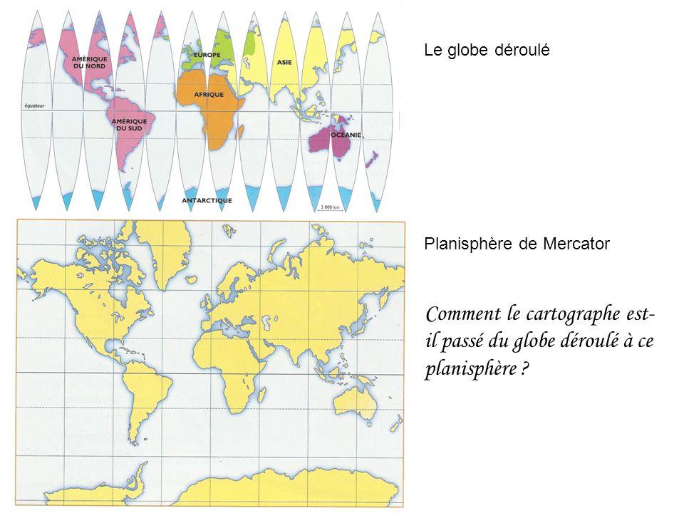 Le globe déroulé Planisphère de Mercator.