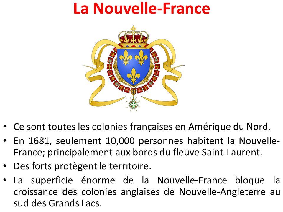 La Nouvelle-France Ce sont toutes les colonies françaises en Amérique du Nord.