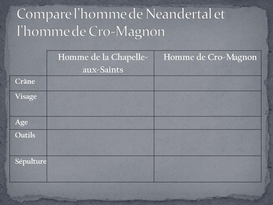Compare l'homme de Neandertal et l'homme de Cro-Magnon