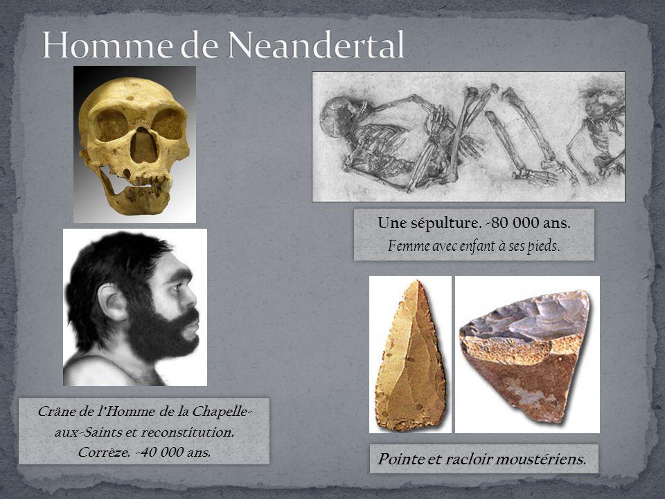 Homme de Neandertal Une sépulture. -80 000 ans.