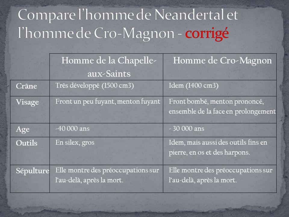 Compare l'homme de Neandertal et l'homme de Cro-Magnon - corrigé
