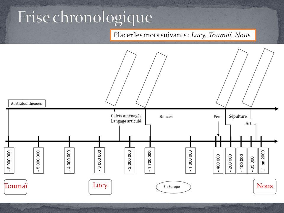 Frise chronologique Placer les mots suivants : Lucy, Toumaï, Nous