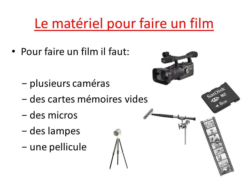 Le matériel pour faire un film