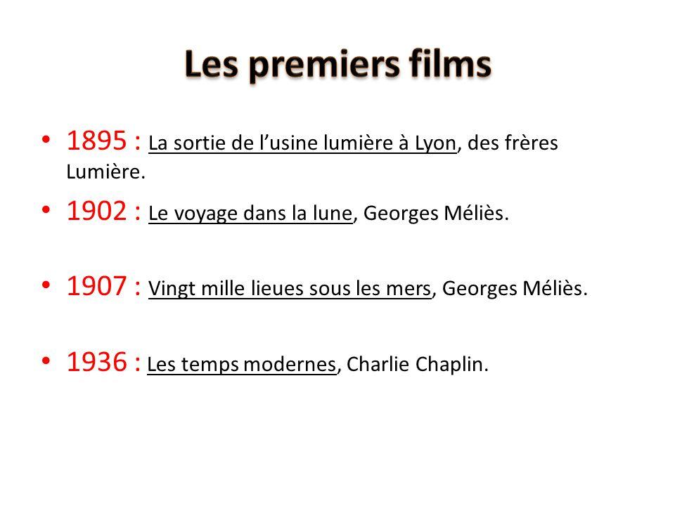 Les premiers films 1895 : La sortie de l'usine lumière à Lyon, des frères Lumière. 1902 : Le voyage dans la lune, Georges Méliès.